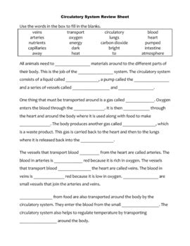 science review sheet circulatory system cloze