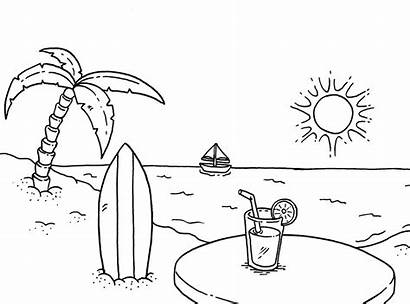 Coloring Beach Pages Surfboard Colouring Sheets Printable