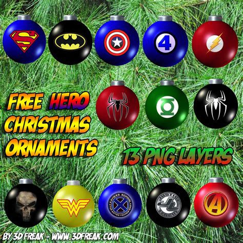 superhero christmas ornaments ornament png layers hm fr111 it s free heromorph