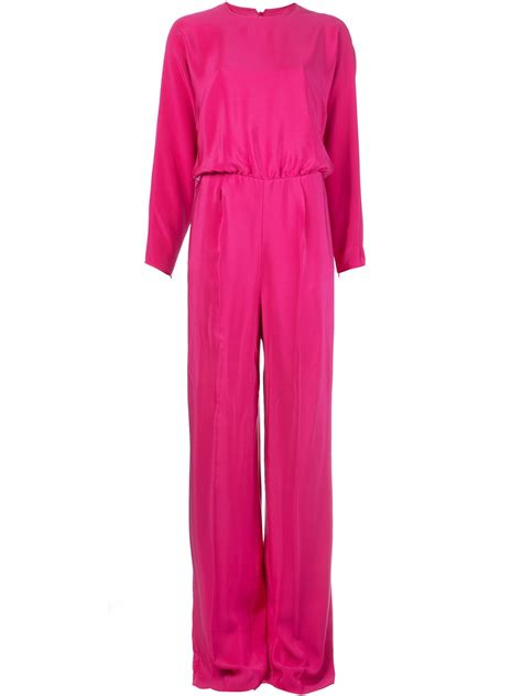 pink jumpsuits valentino wide leg jumpsuit in pink pink purple lyst