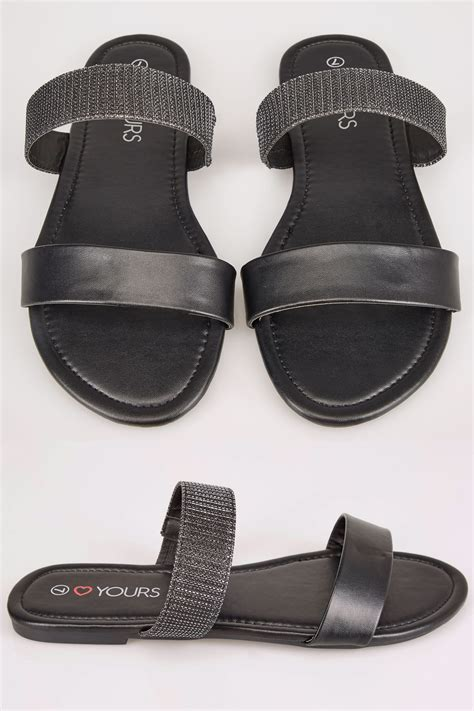 D Link Best Buy Black Slider Sandals In Eee Fit