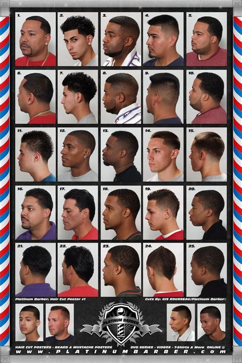 black haircut chart the barber hairstyle guide poster for black