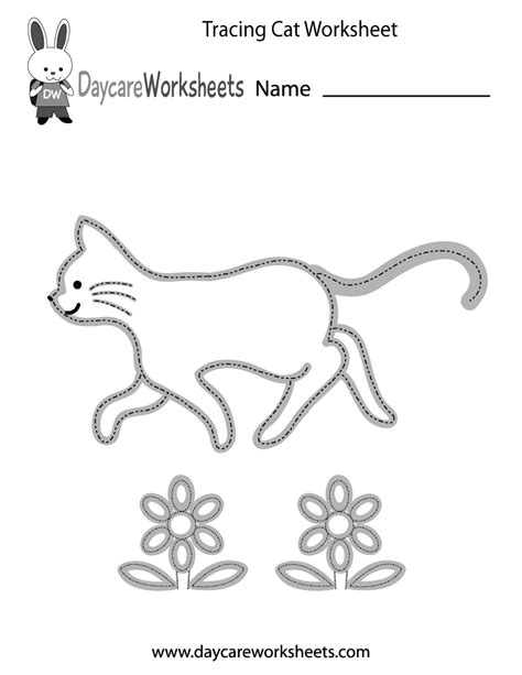 preschool tracing cat worksheet