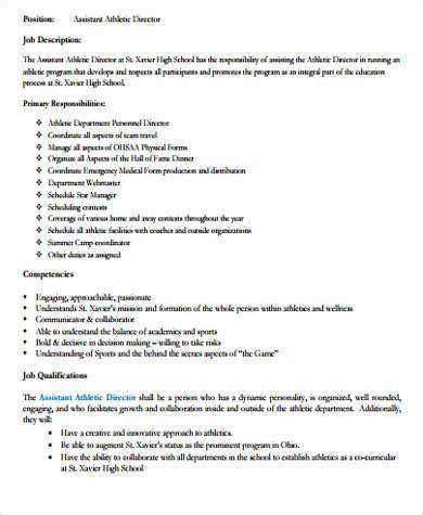 athletic director description best resumes