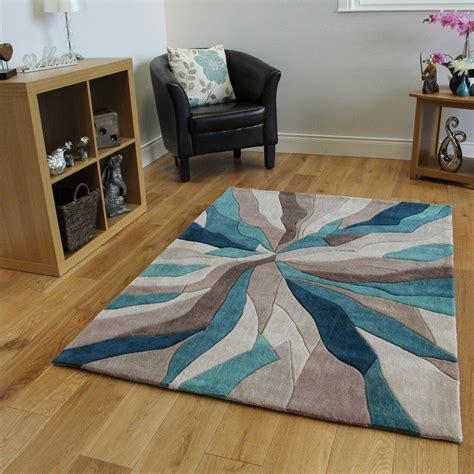 tapis contemporain bleu turquoise  taupe motif vagues  tailles tapis multicolores