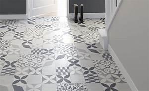 Sol Vinyle Imitation Carreau De Ciment : sol vinyle texas new carreau ciment gris et noir rouleau ~ Premium-room.com Idées de Décoration