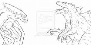 Godzilla 2014 Vs Muto Coloring Coloring Pages