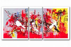 Tableau Moderne Coloré : triptyque contemporain festive evening rouge gris rectangle ~ Teatrodelosmanantiales.com Idées de Décoration