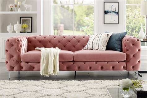 Extravagantes Samt Sofa Modern Barock Altrosa 3-sitzer