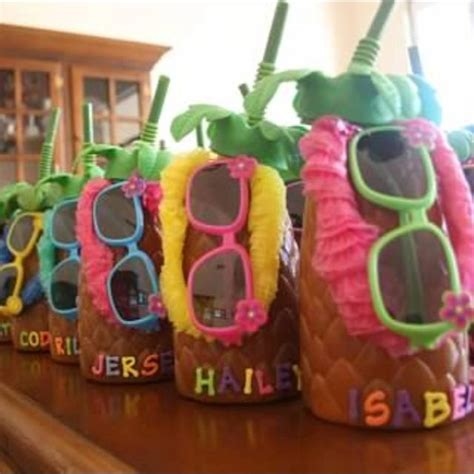 birthday party ideas rookie luau party gift pineapple cups filled with candy leis