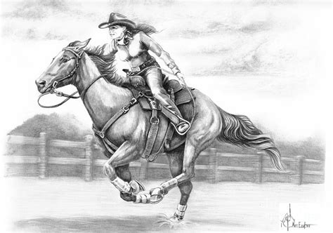 cowgirl full gallop drawing  murphy elliott