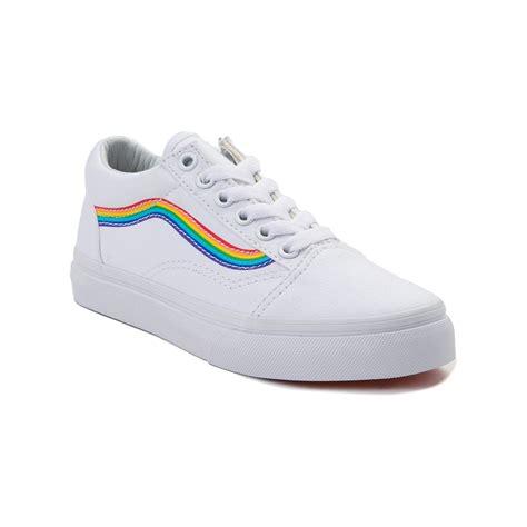 youth vans skool rainbow skate shoe white 1498266