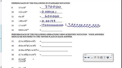 scientific notation worksheet key youtube
