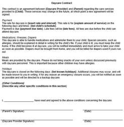 Free Daycare Contract Forms Templates