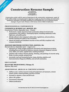 construction labor resume sample resume companion With sample resume for it companies