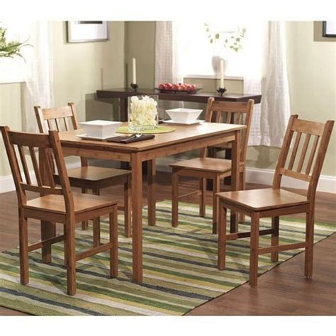 bamboo 5 dining room table chairs kitchen set wood