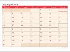 July and August 2015 Printable Calendar icalendarsnet