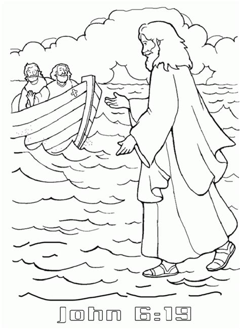 peter walking  water coloring pages coloring home
