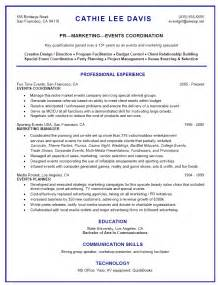 resume objective for event coordinator resume format resume exles event coordinator