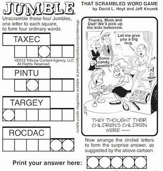 Large print free printable jumble puzzles printable. Large Print Word Jumbles Printable - Bing images | Jumble word puzzle, Jumbled words, Jumbled