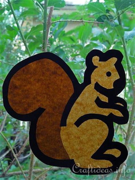 fall craft  kids paper squirrel window decoration