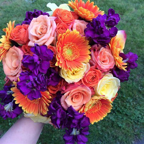 plum purple  orange wedding flowers   fall wedding