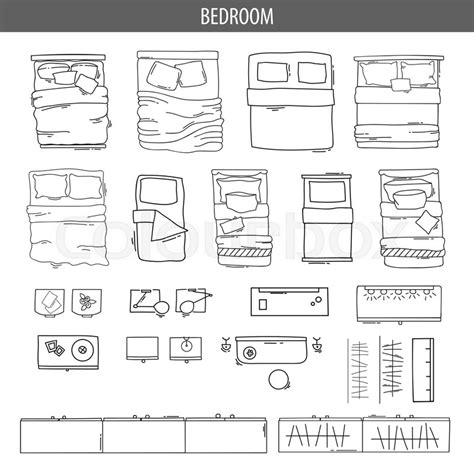 set  linear icons  interior top view plans isolated