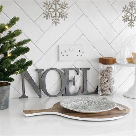 distressed gunmetal joined christmas noel letters sign