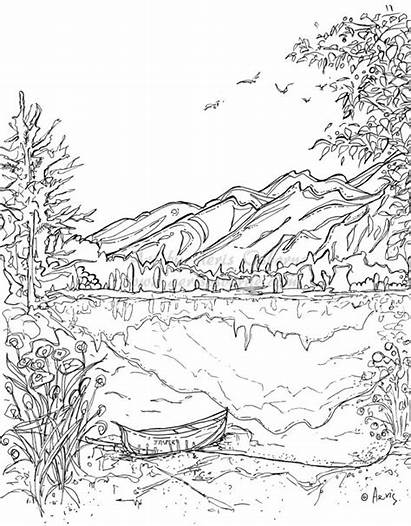 Coloring Mountains Pages Nature Scene