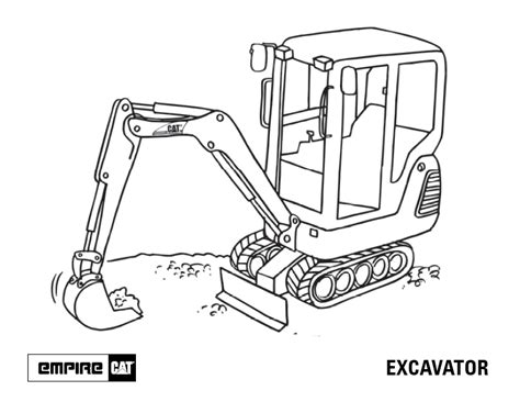 Coloring Excavator by Mini Excavator Coloring Pages Sketch Coloring Page