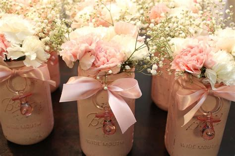 Baby Shower Centerpieces I Painted Each Jar Pink Lightly