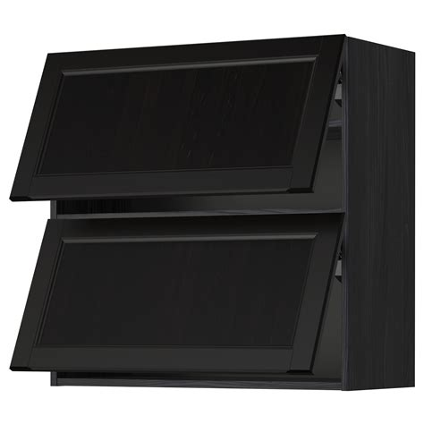 2 door wall cabinet metod wall cabinet horizontal w 2 doors black laxarby