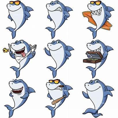 Shark Mascot Cartoon Clipart Vector Friendlystock Surfboard