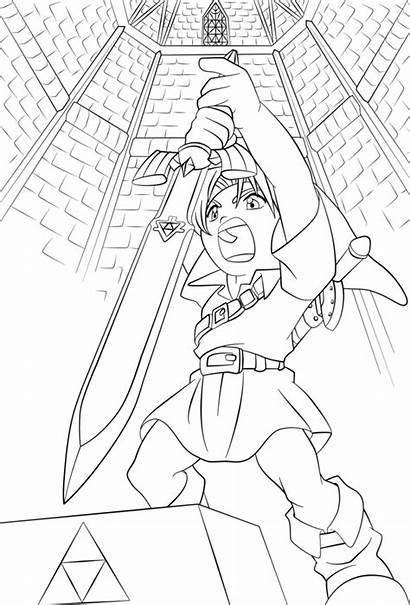 Sword Coloring Zelda Master Lineart Link Obtaining