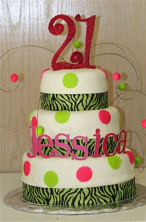 Three tier round white 21st birthday cake with zebra ...