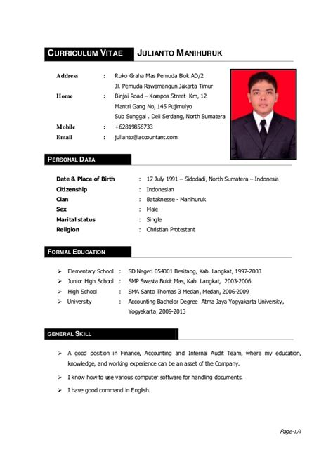 Contoh Cv Lamaran Kerja Curiculum Vitae Bahasa Indonesia Yang