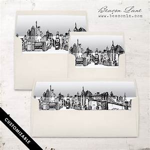 nyc skyline envelope liner beacon lane With wedding invitations stores nyc