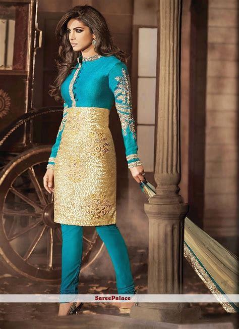 buy priyanka chopra style turquoise  cream churidar