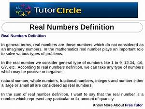 Real Numbers Definition By Tutorcircle Team