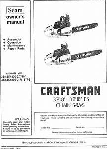 Craftsman 358354830 User Manual 3 7  18 Inch Ps Chain Saws