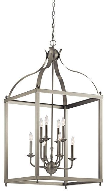 kichler larkin brushed nickel foyer chandelier 8 light