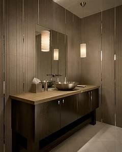 Modern tiled bathroom with stylish pendant lamps decoist