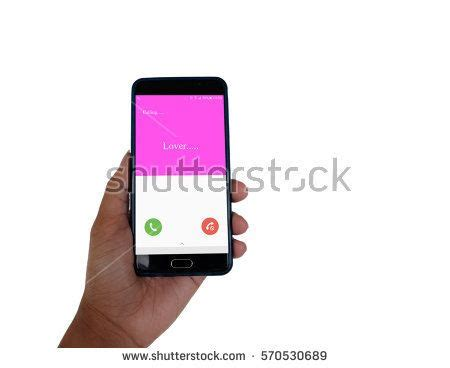 Hand holding Smart phone and Lover calling on pink screen ...