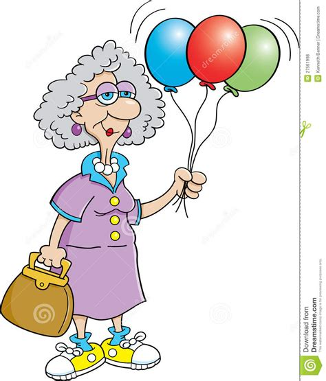 senior citizen lady holding balloons royalty  stock