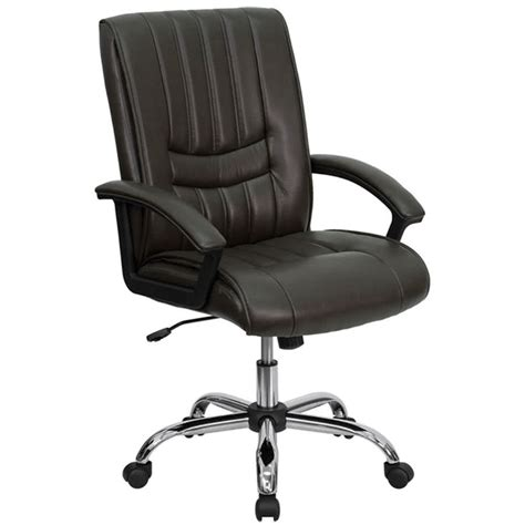 mid back espresso brown leather manager s office chair