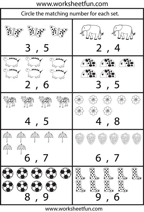 number worksheets for kindergarten 1 10 numbers 1 10