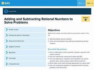 Adding And Subtracting Rational Numbers To Solve Problems