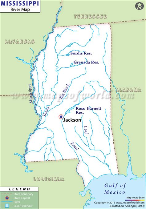 Mississippi Rivers Map, Rivers in Mississippi