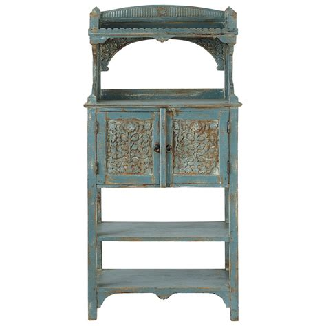 mango wood kitchen stand in grey blue with distressed finish w 75cm avignon maisons du monde