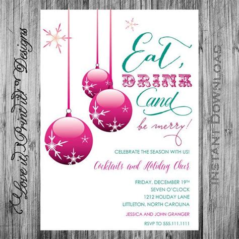 holiday invitation diy template eat drink